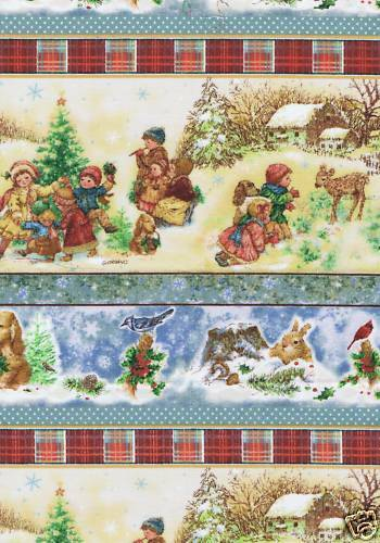 Fat Quarter Christmas Countryside Children Stripe Sewing Cotton Quilting Fabric