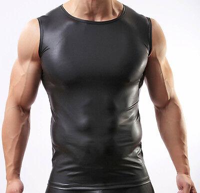 Sexy Men's Leather Like Tank Top Vest Underwear Faux Leathe Sleeveless Shirts