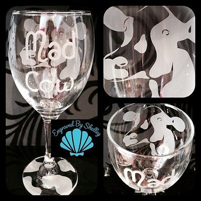 MOO! Personalised Cow// Cattle Wine Glass Gift Handmade /& Free Message Engraving