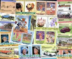 Bequia Collections De 25 à 100 Timbres Différents
