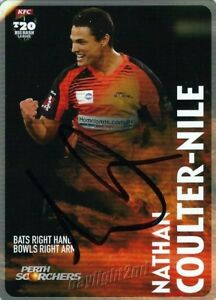 Signed-2014-2015-PERTH-SCORCHERS-Cricket-Card-NATHAN-COULTER-NILE-Big-Bash