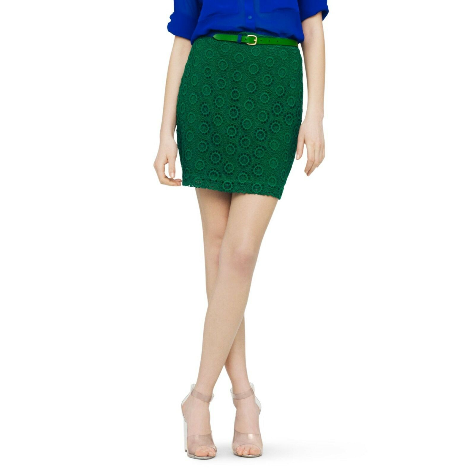 New Club Monaco Cora Skirt Embroidered Eyelet LACE Mini Emerald Green 6