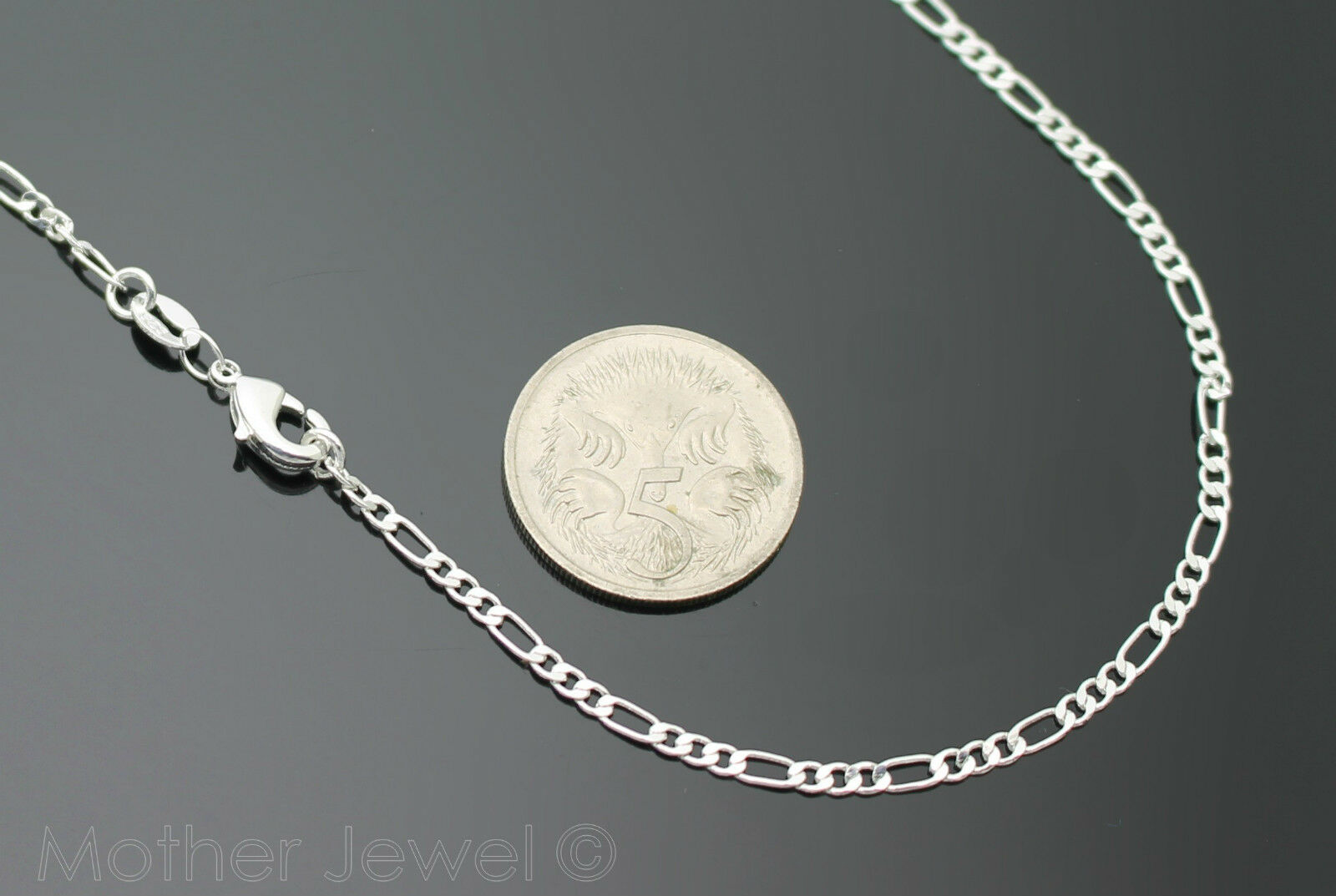 Sterling Silver Plated Figaro 3 1 Link Chain Mens Womens