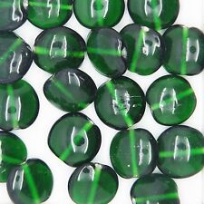 Glass Beads Emerald Green Transparent Lentil 12mm. Pack of 20. Made in India.