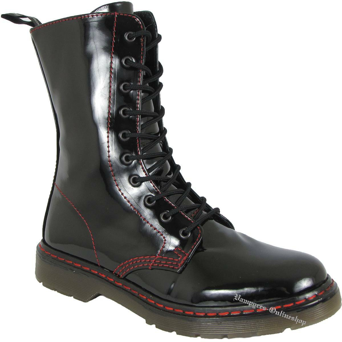 Boots And Braces Easy 10-Loch Bloody Patent black Lack Stiefel rede Naht black