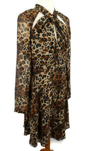 Myleene-Klass-Size-12-Long-Sleeve-Leopard-Print-Floaty-Flippy-Dress-Party