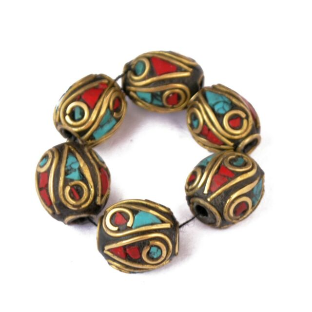 Turquoise Coral Brass 6 Beads Tibetan Nepalese Ethnic Tribal Handmade UB2658