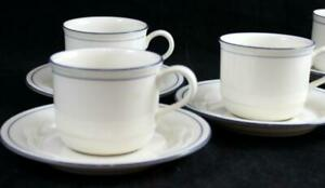 Lenox-BLUE-PINSTRIPES-3-Cup-amp-Saucer-Sets-Chinastone-GREAT-CONDITION