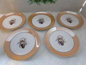 Set-5-Noritake-Morimura-Hand-Painted-Bread-Dessert-Plate-Lustreware-Birds-6-034