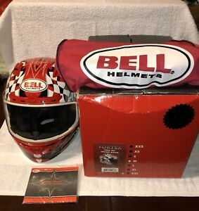 Bell-Vortex-Motorcycle-Helmet-Snell-M2010-DOT-Torn-Red-Rogue-Size-M-Like-New