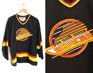 960b1eef3 Vtg Vancouver Canucks Hockey Jersey Large CCM NHL Official 80s Coach ...