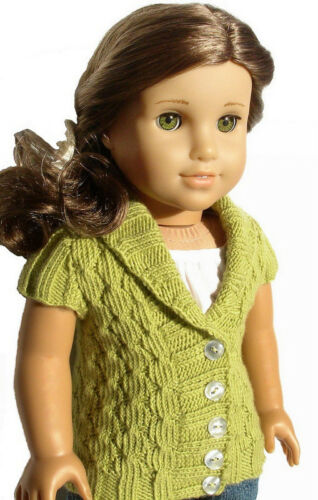 Knitting Pattern Olive Cardigan Sweater For American Girl 18 Inch Doll Clothes