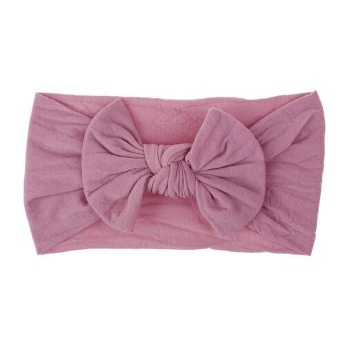 Girls Baby Toddler Turban Solid Headband Hair Band Bow Accessories Headwear
