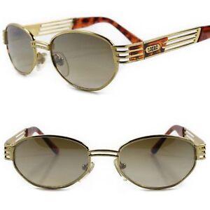 6c344ff14dab Classic Genuine Vintage 80s Fashion Brown Lens Gold Frame Rectangle ...