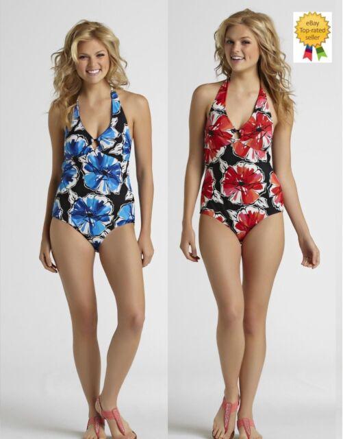 d7884fc0d6201 Tropical Escape Womens Swimsuit Floral One Piece size 8 10 12 14 16 NEW