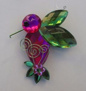 HUMMINGBIRD w FLOWERS /& FOLIAGE /& LAVENDER PURPLE CRYSTAL SUN CATCHER ORNAMENT