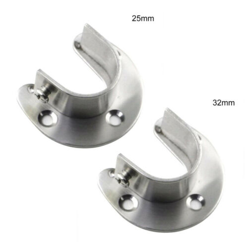 Rail Bracket Rod End Socket 2pcs Clothes Closet Wardrobe Pipe Hanging Hot sale