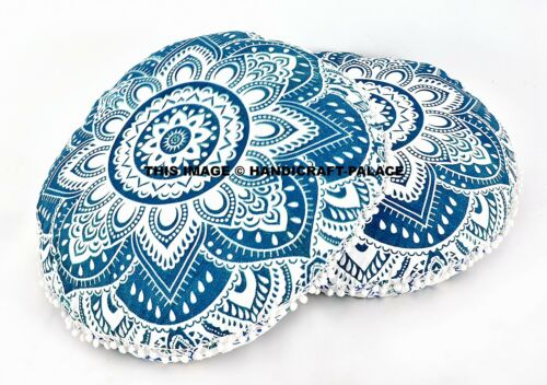 2 PC Indian Mandala Meditation Round Floor Cushion Cover Cotton ow Case 32""