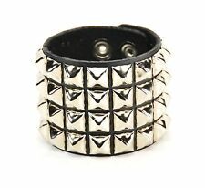 Studded Four Row Pyramid Leather Bracelet Punk Gothic Thrash Metal Rockabilly