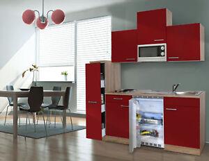 Details zu Küche Küchenzeile Singleküche Küchenblock 150 cm Eiche Sägerau  rot respekta