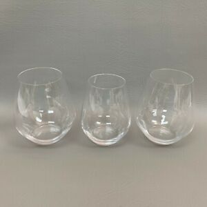 Spiegelau-Clear-Wine-Glass-Glasses-Lot-of-3-Stemless-4-3-4-034-amp-4-1-2-034-High