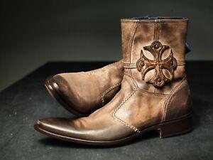 NEW !Mark Nason Vibrato Cross Dragon Rock Boots US 8.5 Distressed Brown ()