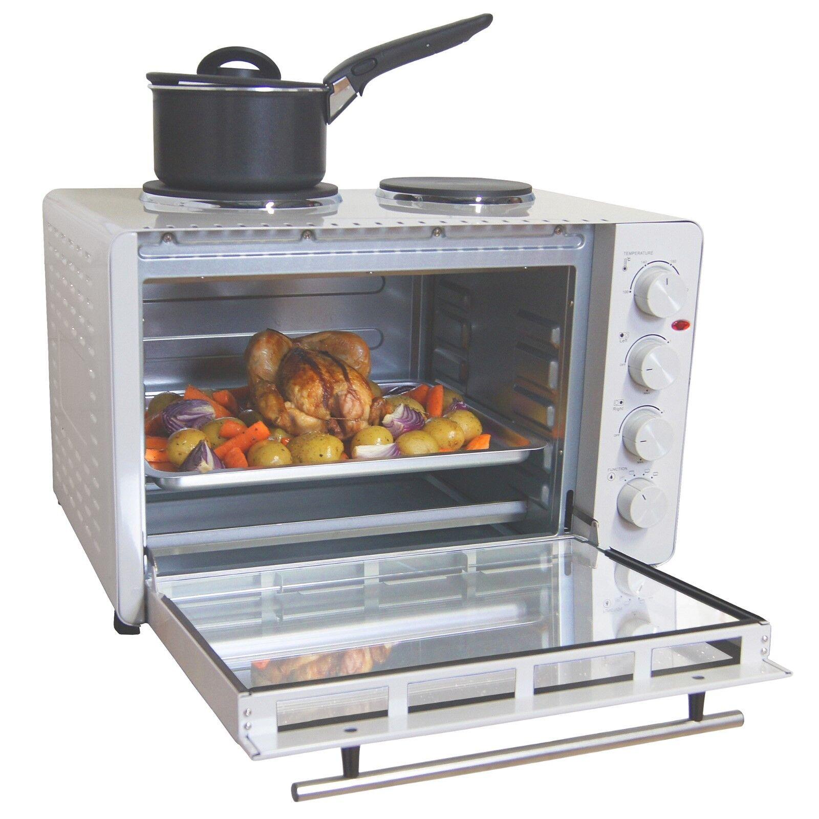 Igenix électrique IG7145 Mini four avec plaques de cuisson, 45 L-Blanc