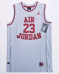 Air Jordan 23 Basketball Jersey Boys Youth Sz Large Gray Red Sewn $45