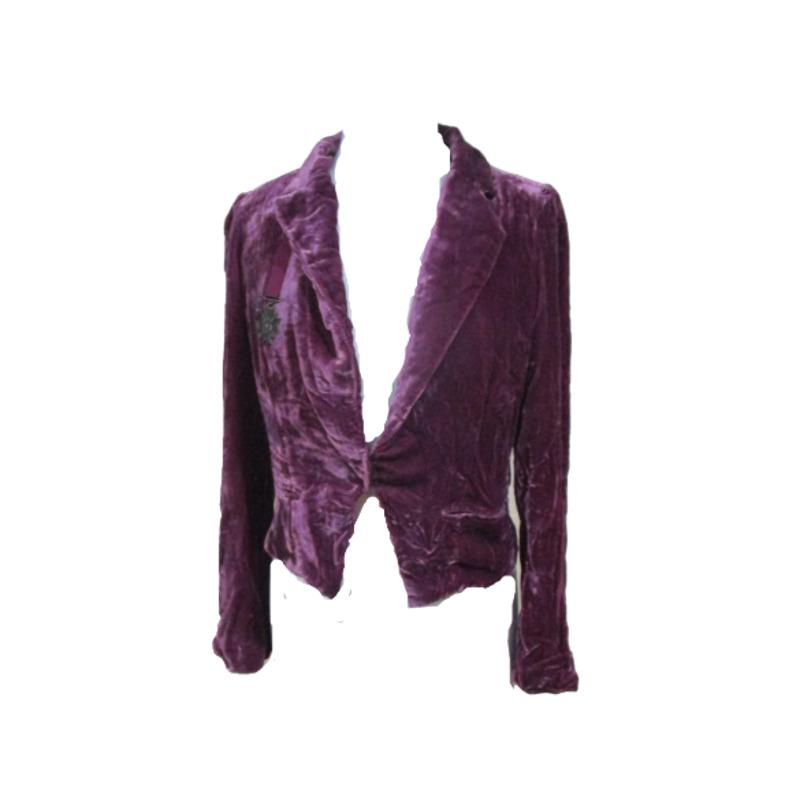 Line & Dot Red Crushed Velvet Blazer Jacket - image 1