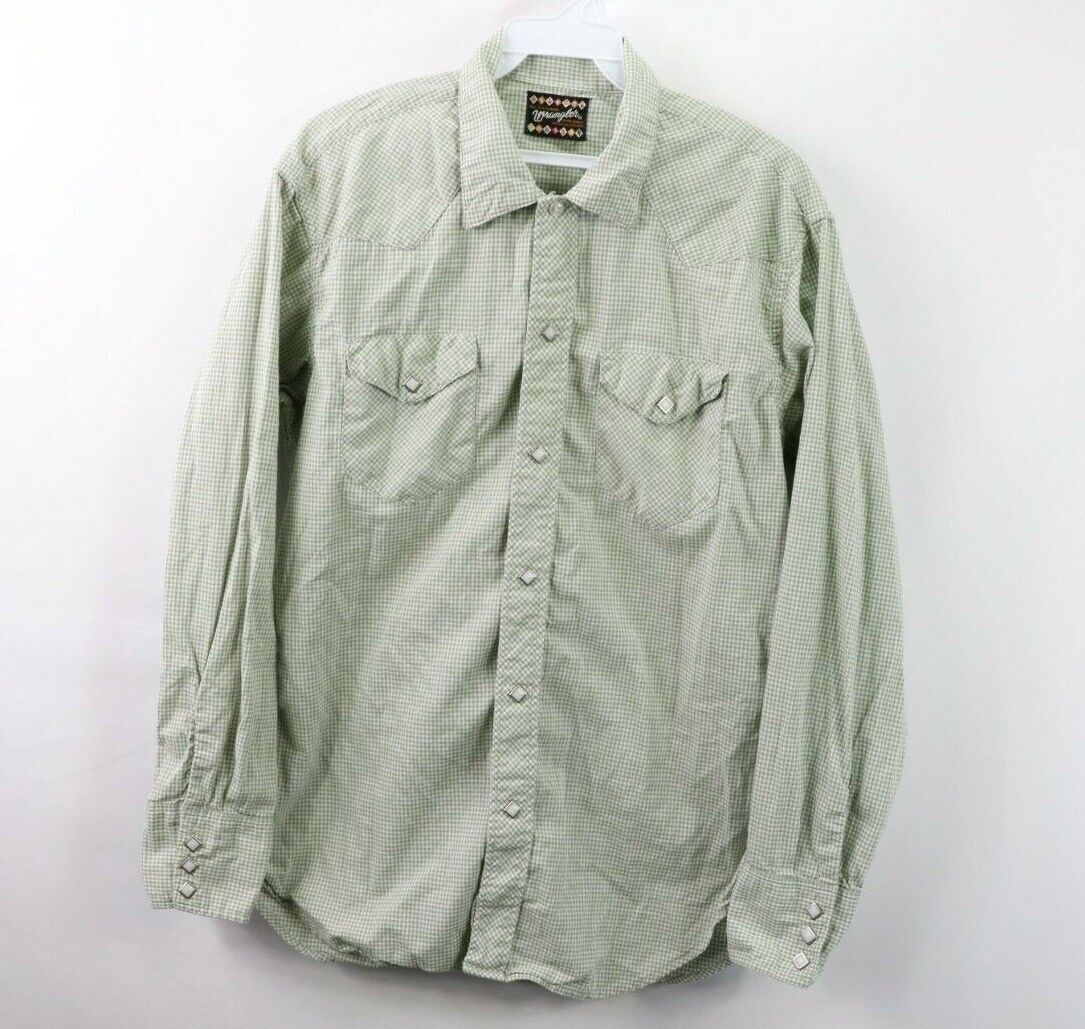 Vintage 60s Wrangler bluee Bell Mens Large Pearl Snap Button Western Shirt Green