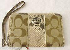 NWT Coach 61851 Sutton Signature C Python Universal Case Wristlet Khaki/Natural