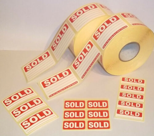 Bright Red SOLD Stickers Tags Labels Sticky labels Removable Adhesive 4 Sizes