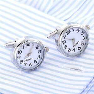 2017-Luxury-shirt-cufflinks-men-039-s-Real-Clock-Design-cuff-links-wedding-Jewelry