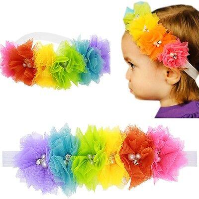 Baby Girl Elastic Flowers Headband Rainbow Turban Lace Pearl Hairband