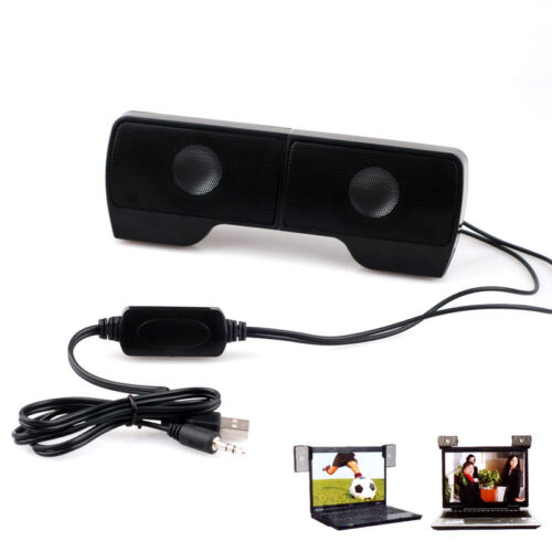 Clip-on USB Stereo Speakers Line Controller Soundbars for Laptop Notebook MP3 PC