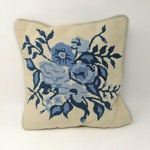 Vintage-Handmade-Blue-Floral-Needlepoint-Throw-Pillow-Cream-Velour
