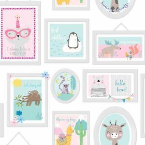 Holden-Animal-Cadres-Papier-Peint-Sarcelle-Rose-Bedrooms-Playrooms-Enfants