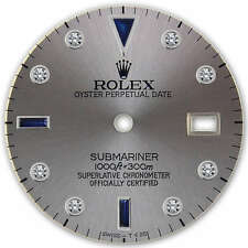 Rolex Submariner Stainelss Steel Slate Gray Serti Diamond Sapphire Accent Dial