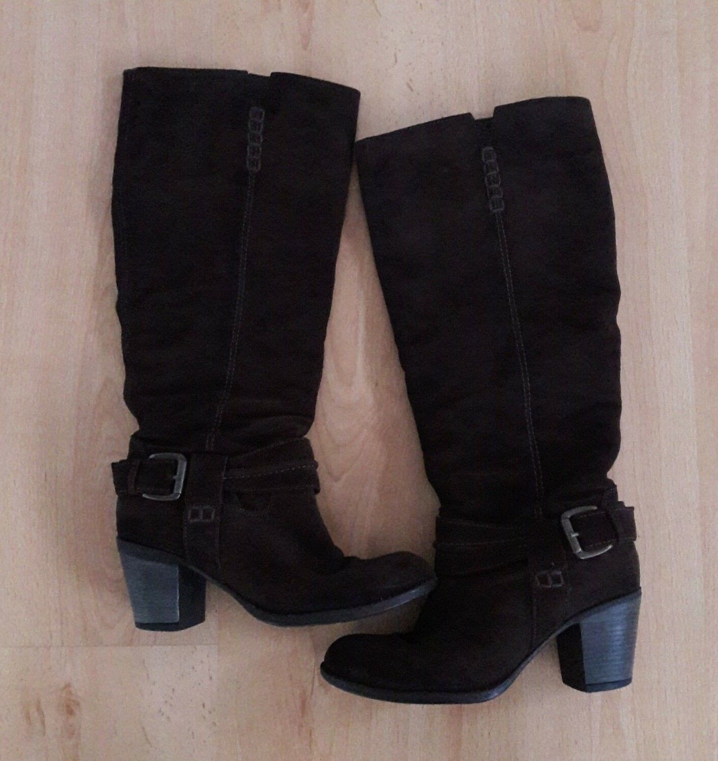 Gorgeous Brown Suede Knee High Heeled Pull On Boots from Next - Size 5 - Great