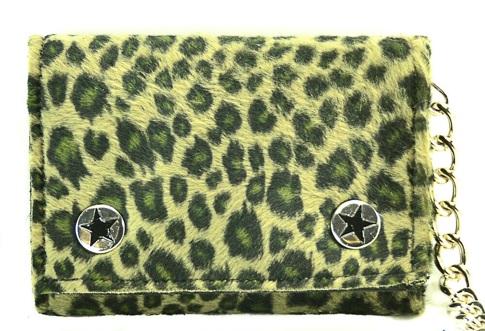 Leopard Fabric and Leather Tri Fold Biker wallet 12