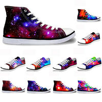 Galaxy Hi Top Ladies Canvas Trainers Shoes Low Top Flat Lace Up Plimsolls Pumps