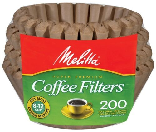 200 Count Melitta 8-12 Cup Basket Coffee Filters Paper Natural Brown 4 Pack