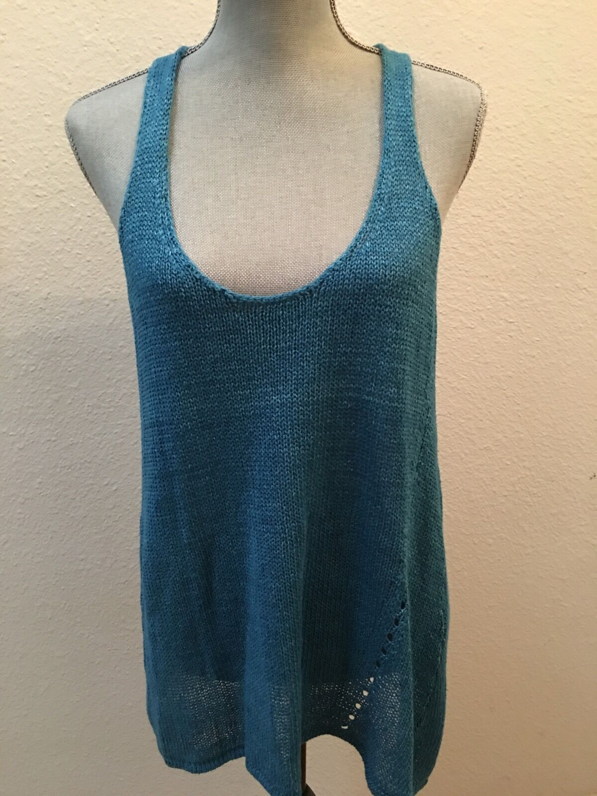 Vince Large L bluee Vest 100% Linen Tunic Sleeveless Sweater Excellent Condition