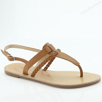 New Womens Sandals Flat Gladiator Braided Strap Flip Flops Thong Sandal Slipper