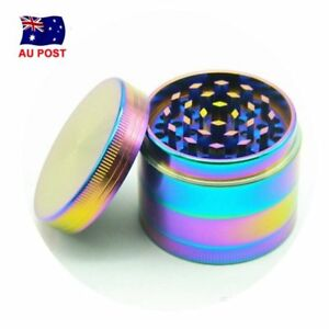 Metal Hand Herb GRINDER 4 Layers Rainbow Tobacco Smoke Muller 40mm Lid Pot AU