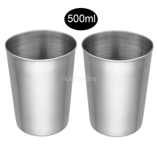 Children Adults Stainless Steel Glasses Cup Drink Beer Coffee Water Mugs 2//4Pcs