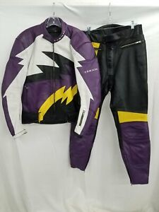 2pc Teknic Unisex Purple & Yellow Leather Motorcycle Jacket & Pants Sz 36/46