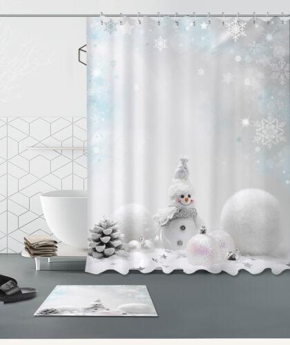 Bonhomme de neige hiver neige Rideau de douche salle de bains Tissu Imperméable /& Tapis de bain 5195