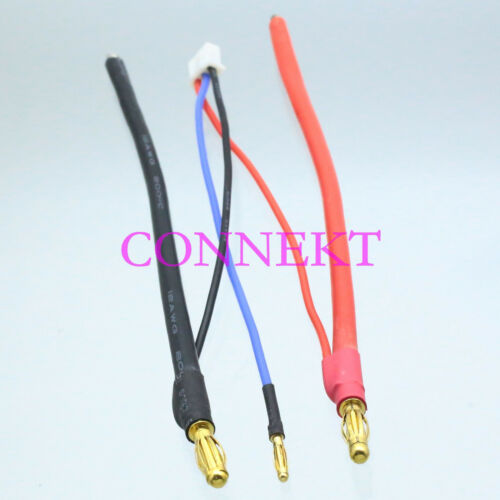 4mm banana bullet to Bare Leads /& 2mm 2S JST-XH Balance cable for Lipo Battery