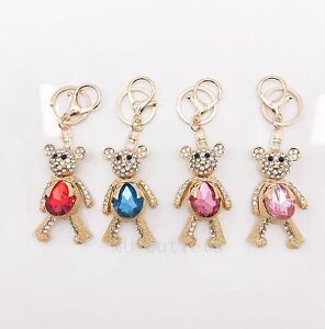 d54427a7d0c5c New Cute Bear Keychain Keyring Rhinestone Key Chain Ring Bag Charm ...